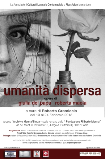 Locandina UMANITA DISPERSA opere di Giulia Del Papa e Roberta Maola
